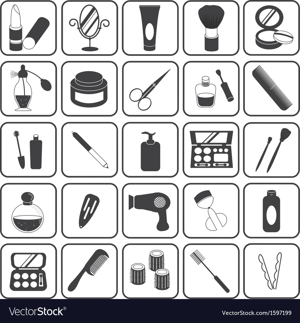 Basic cosmetic icons set vector