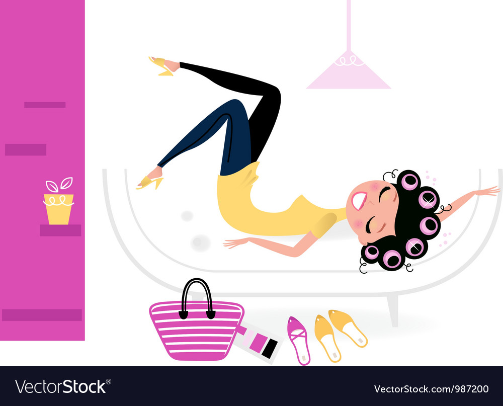 Pretty fashion female relaxing in her room vector