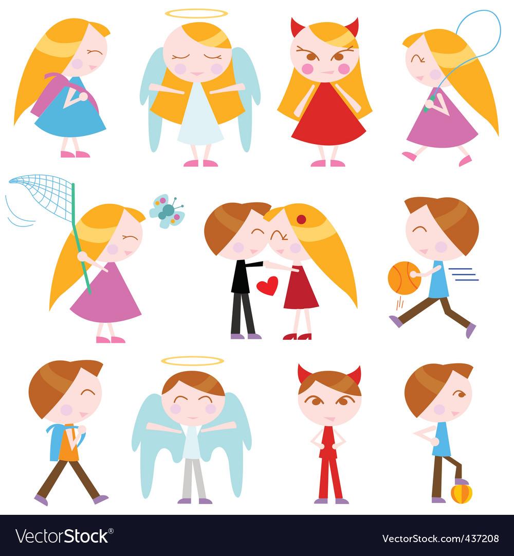 Cute cartoon kids vector