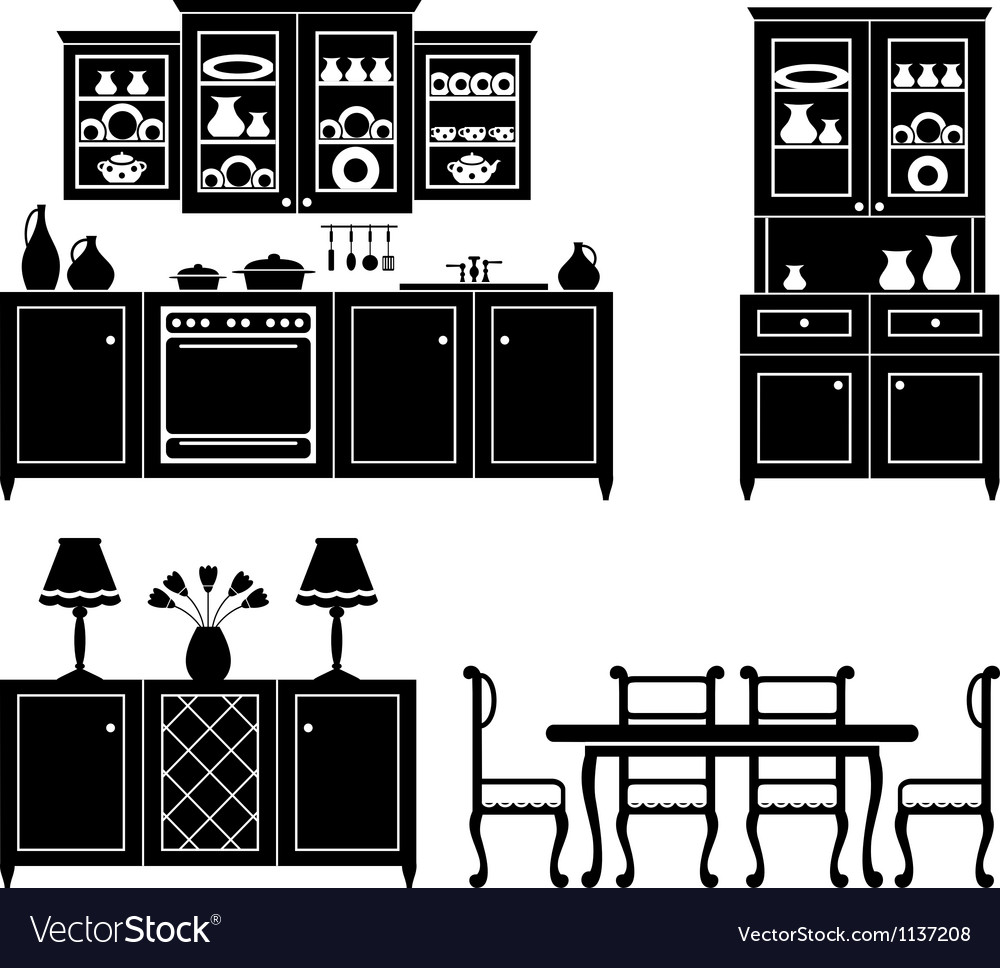 Set of icons of kitchen furniture vector