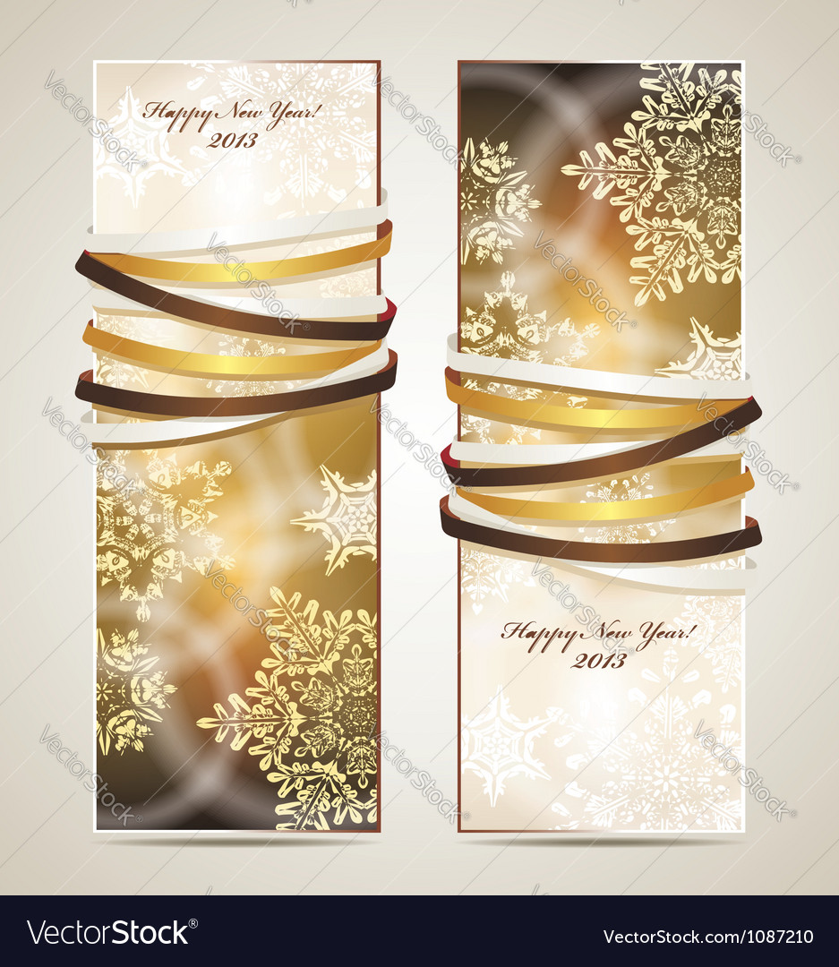Greeting cards with ribbons vector