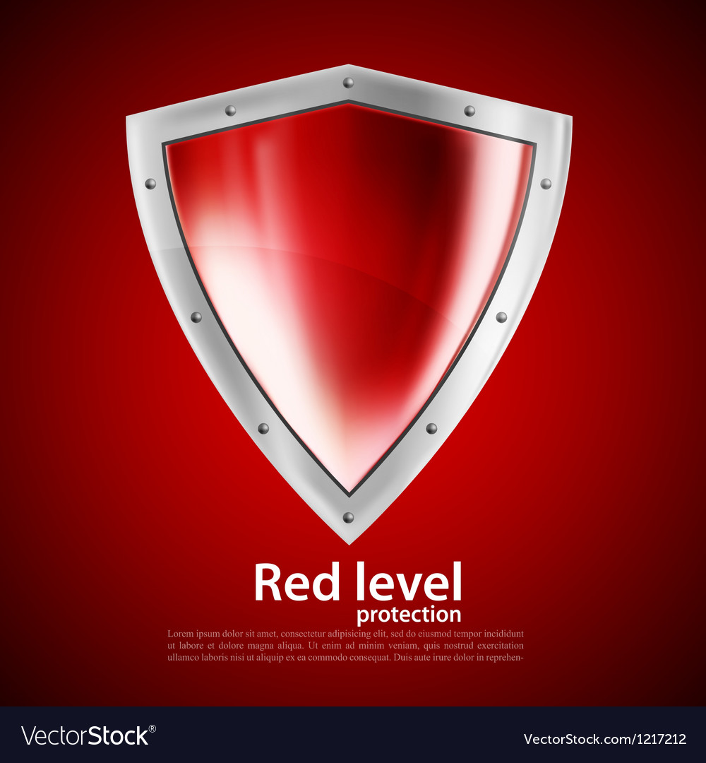 Bright red shield vector