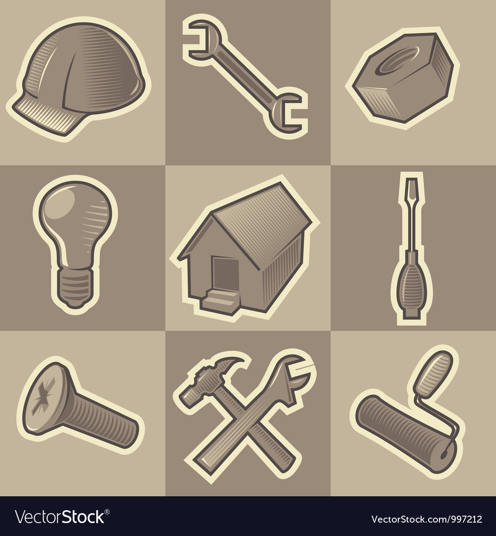 Monochrome construct icons vector