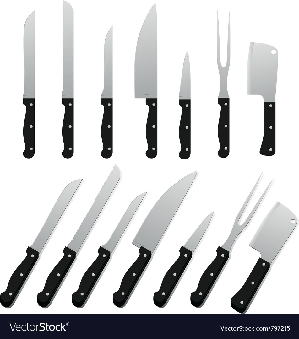 Set of kitchen knifes vector