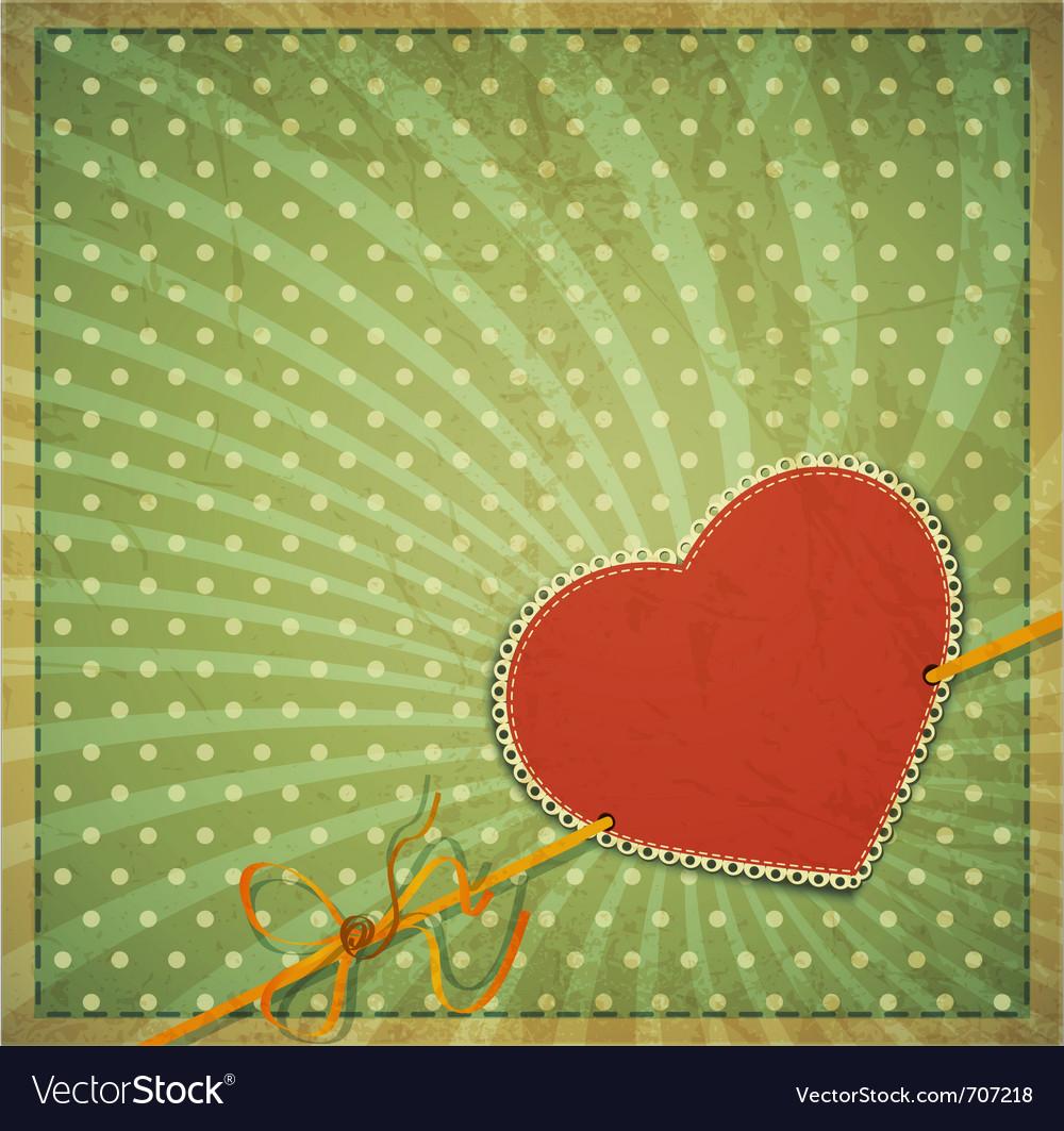 Vintage valentines hearts background vector