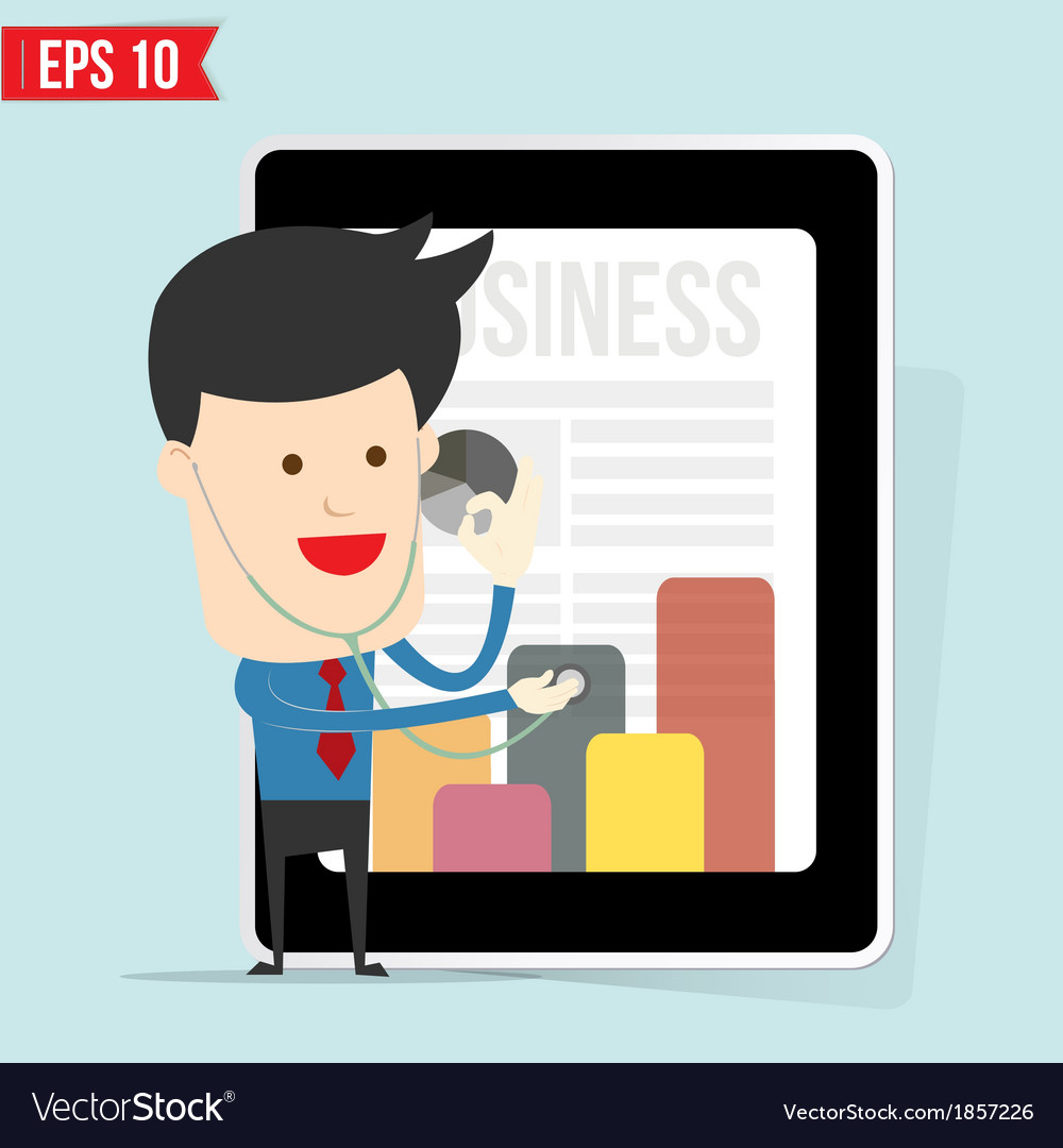 Businessman use stethoscope checking up business vector