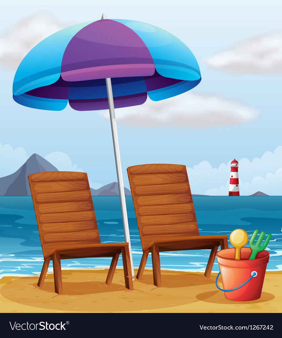 A beach with an umbrella and chairs vector