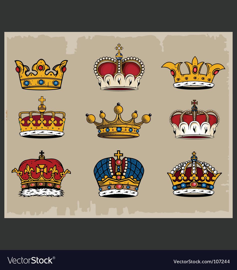 9 crowns vector