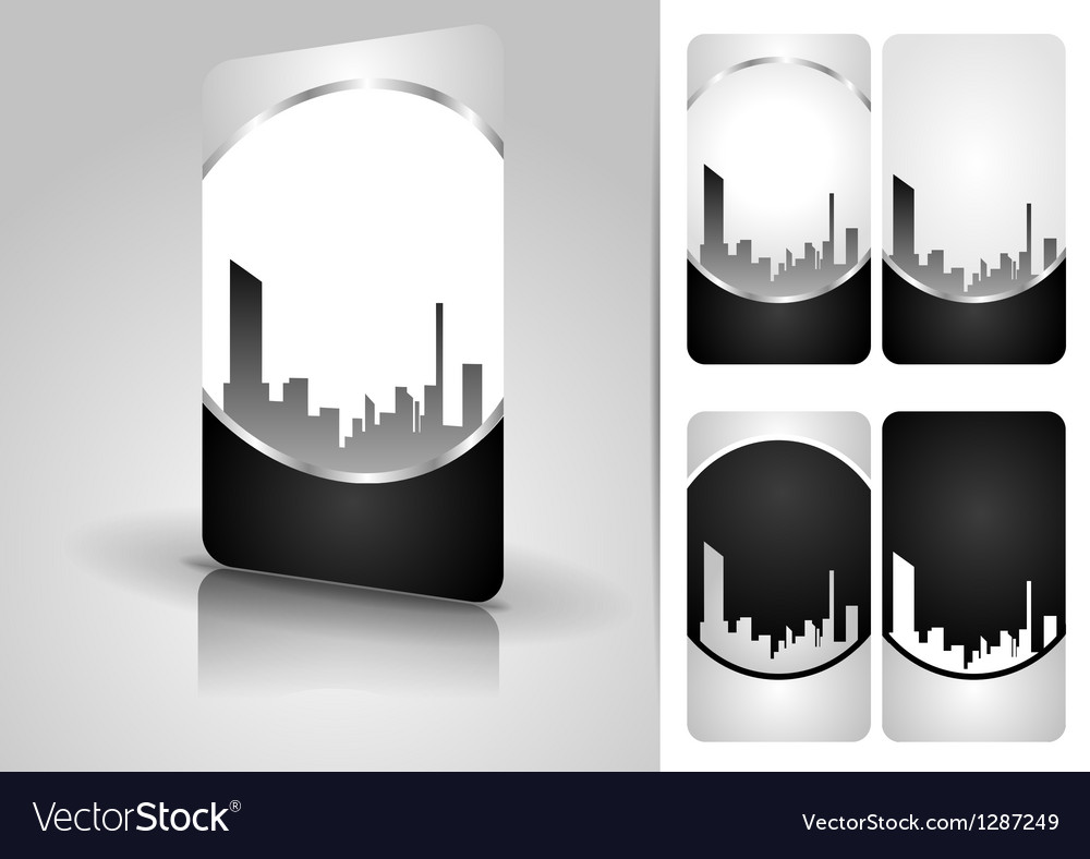 Silver business card set vector