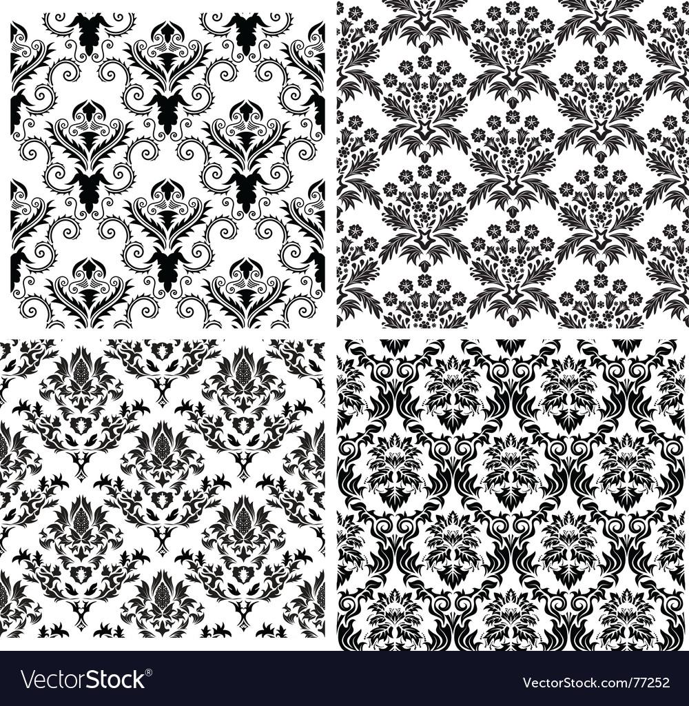 Damask backgrounds set vector