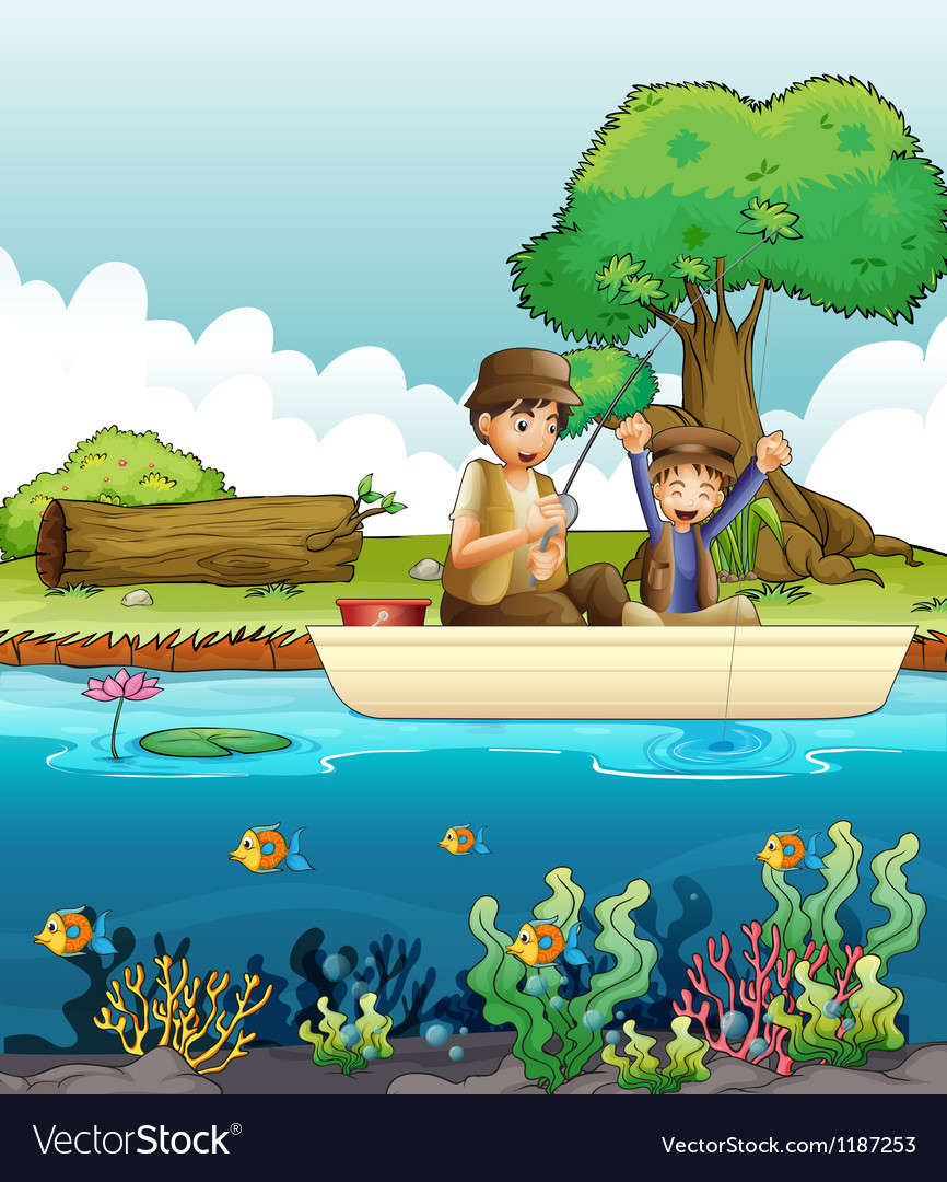 Two men fishing vector