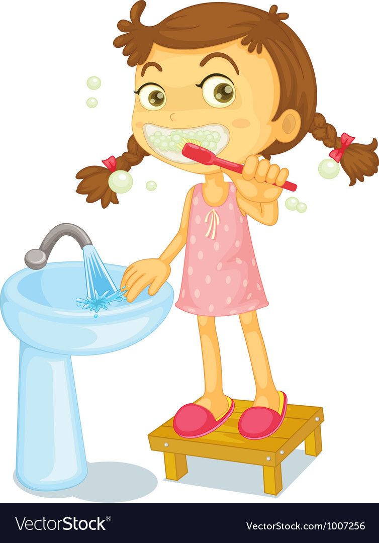 Girl brushing teeth vector art - Download Brushing vectors - 1007256