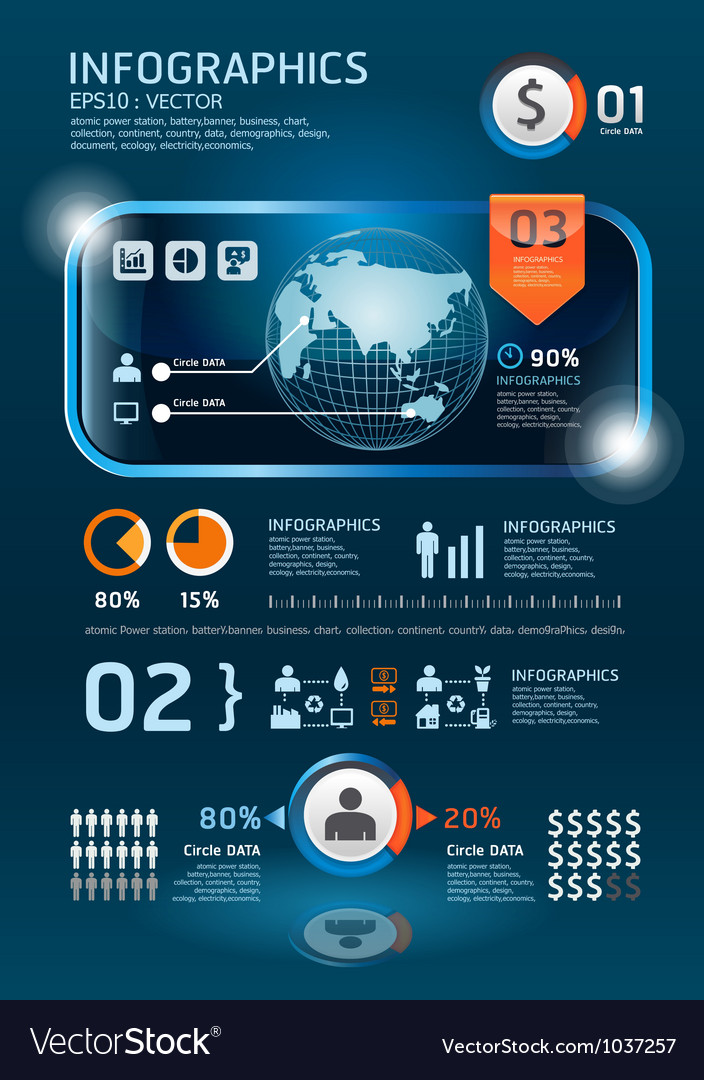 Ininfographics set technology graphics vector