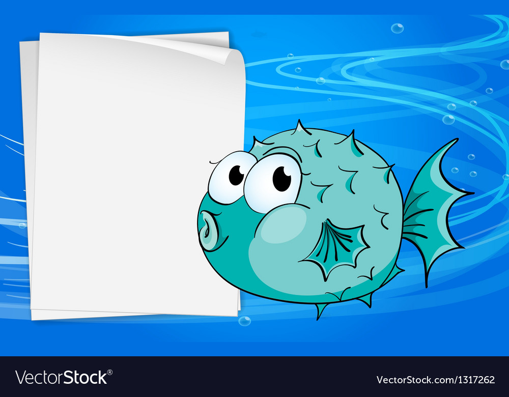 A fish beside a paper under the sea vector