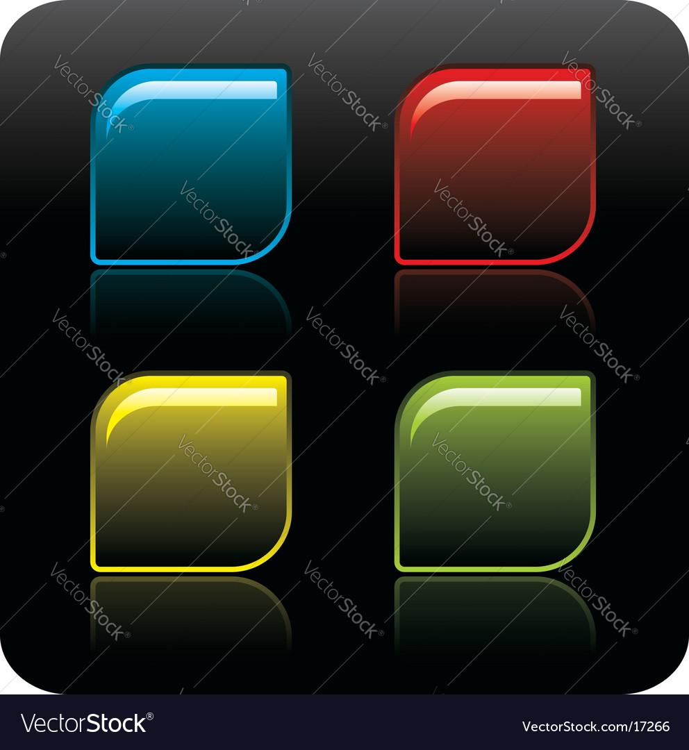 Shiny color button set vector
