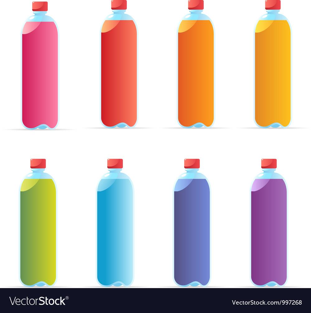 Multicolored water bottles vector