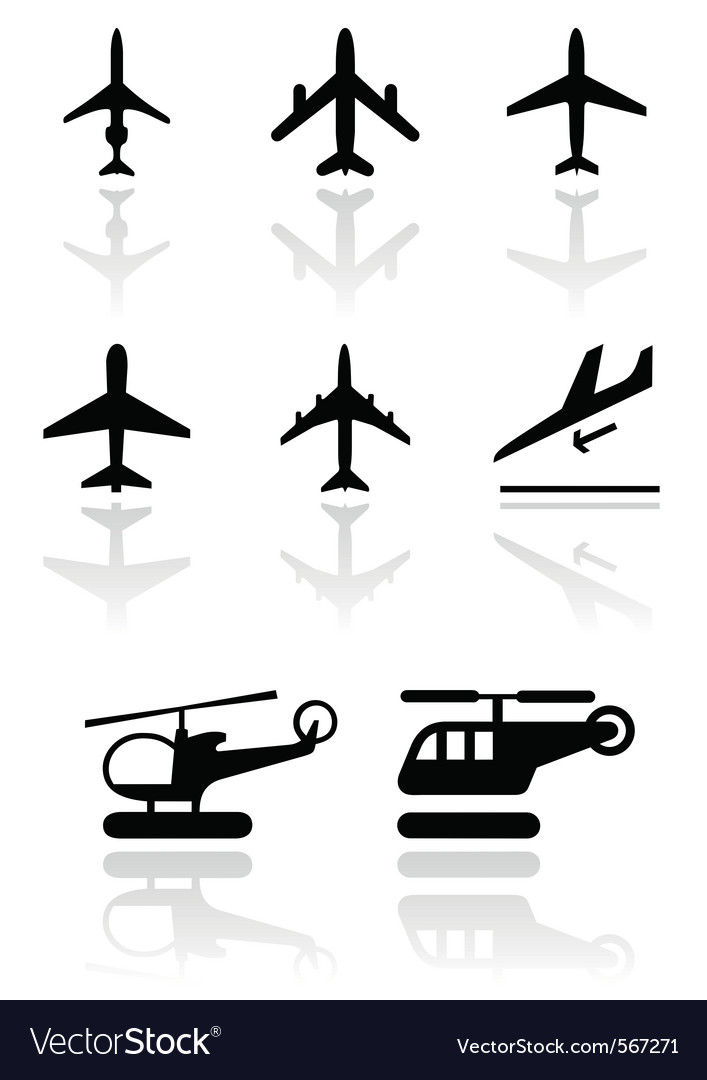 Airplane helicopter symbol set vector