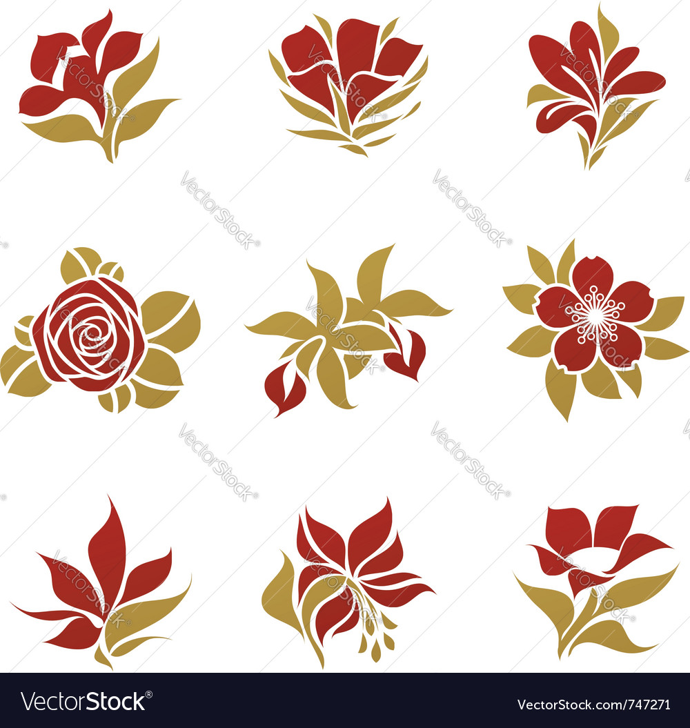 Flowers - logo template set vector