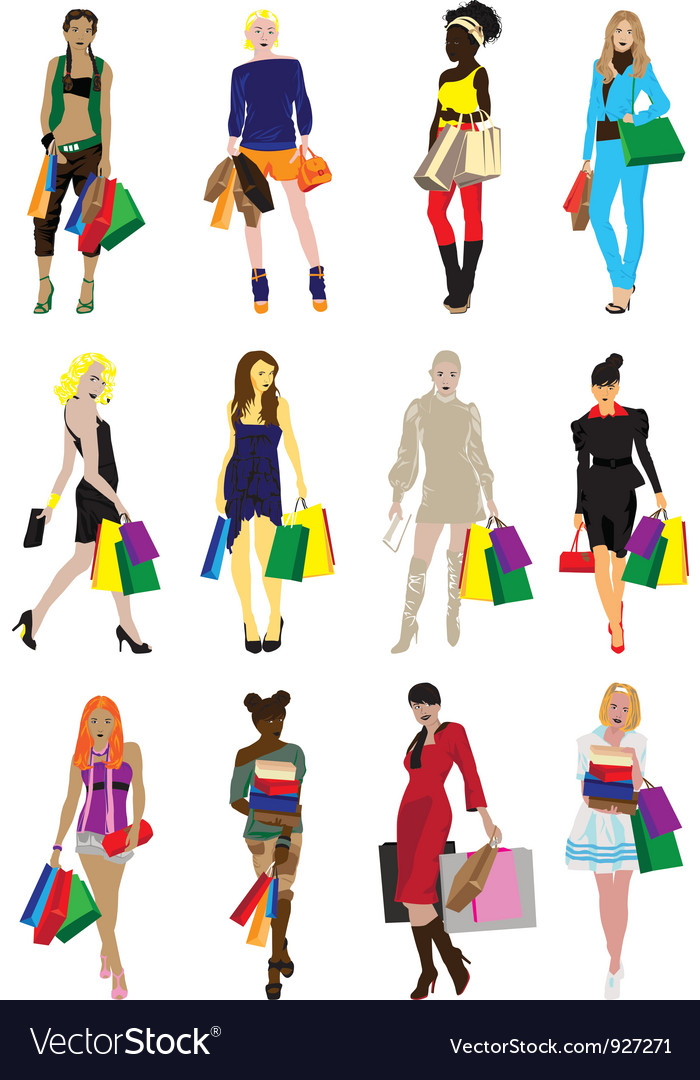 Many girls with shopping vector