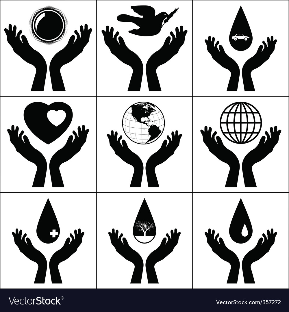 Open hands held signs  vector
