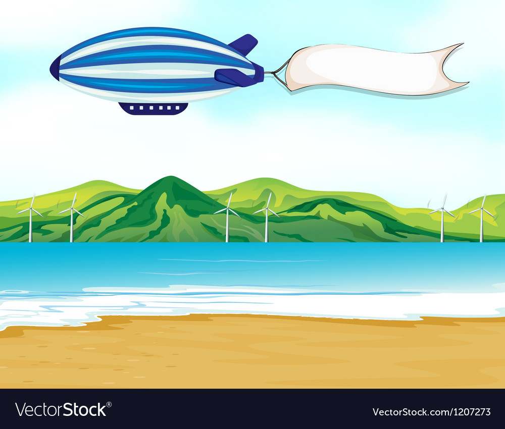 A stripe airship with a white banner vector
