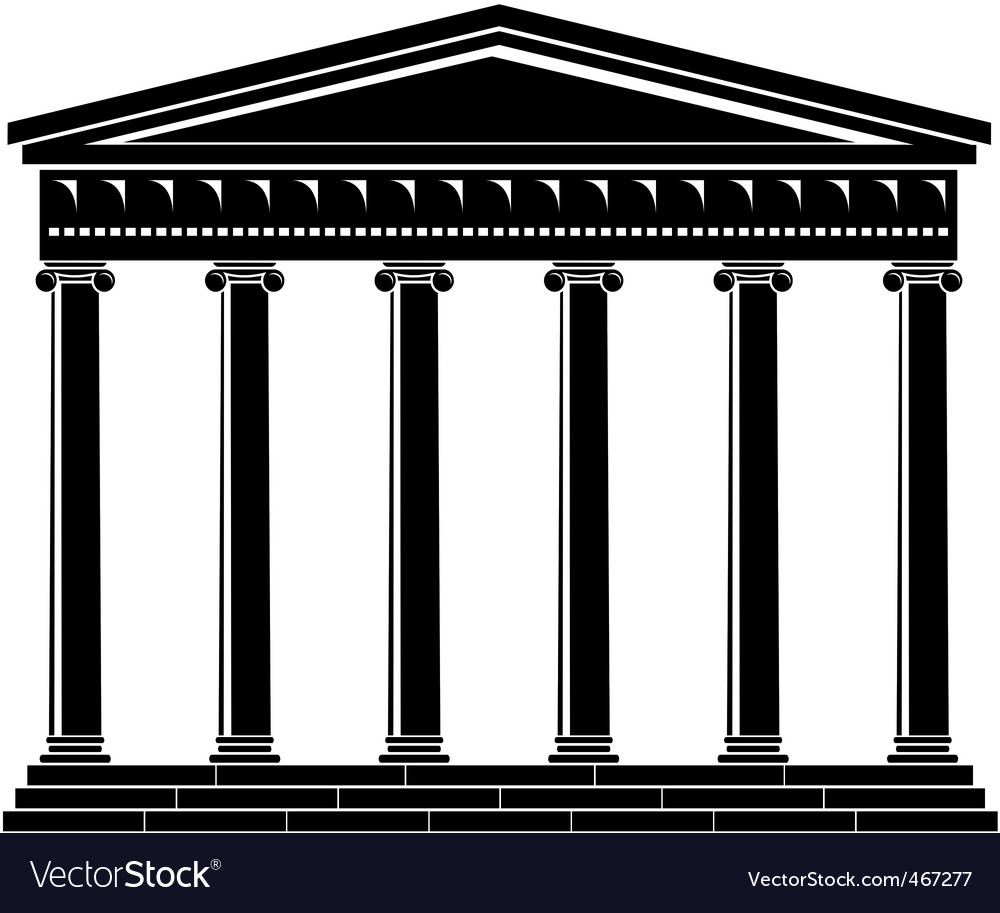 Portico colonnade architecture vector