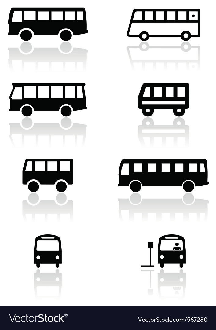 Bus van symbol set vector