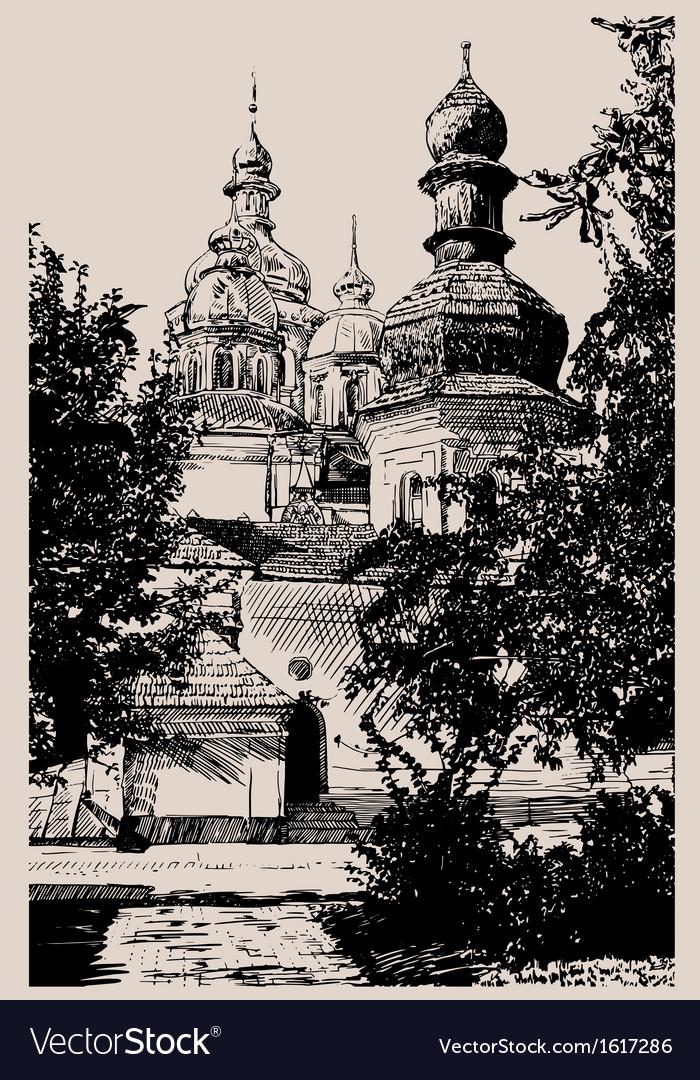 Ukrainian church engraving vector