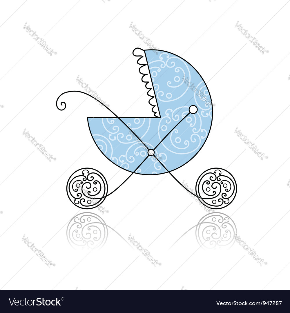 Baby buggy blue for your design vector