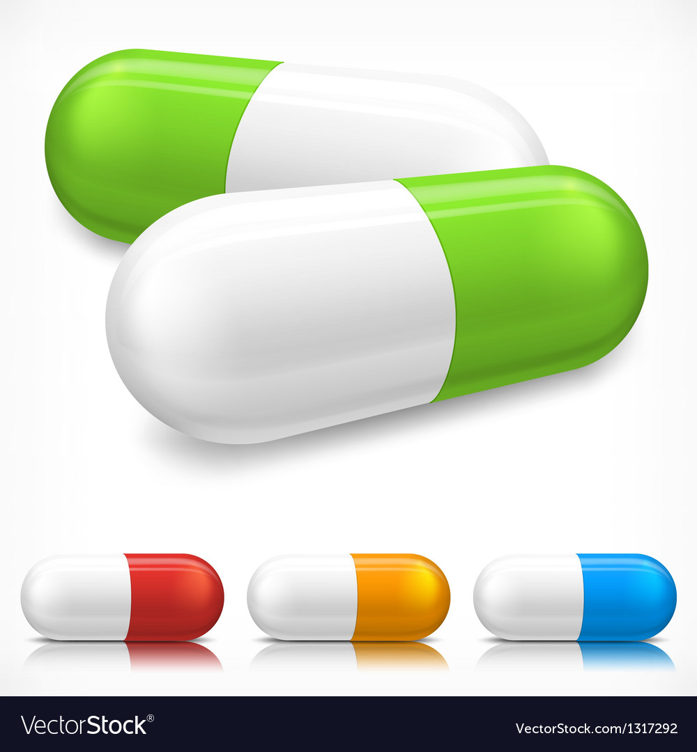 Capsule pills on white vector