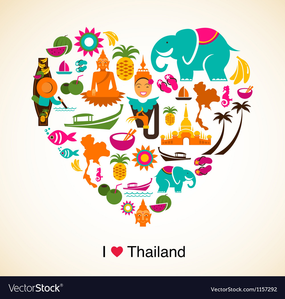 Thailand love - heart with thai icons and symbols vector