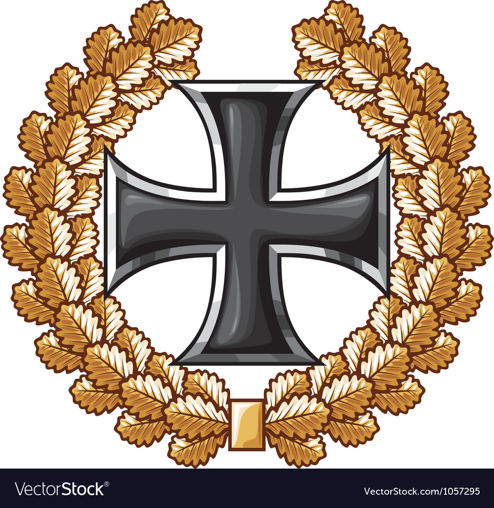 German iron cross and oak wreath vector
