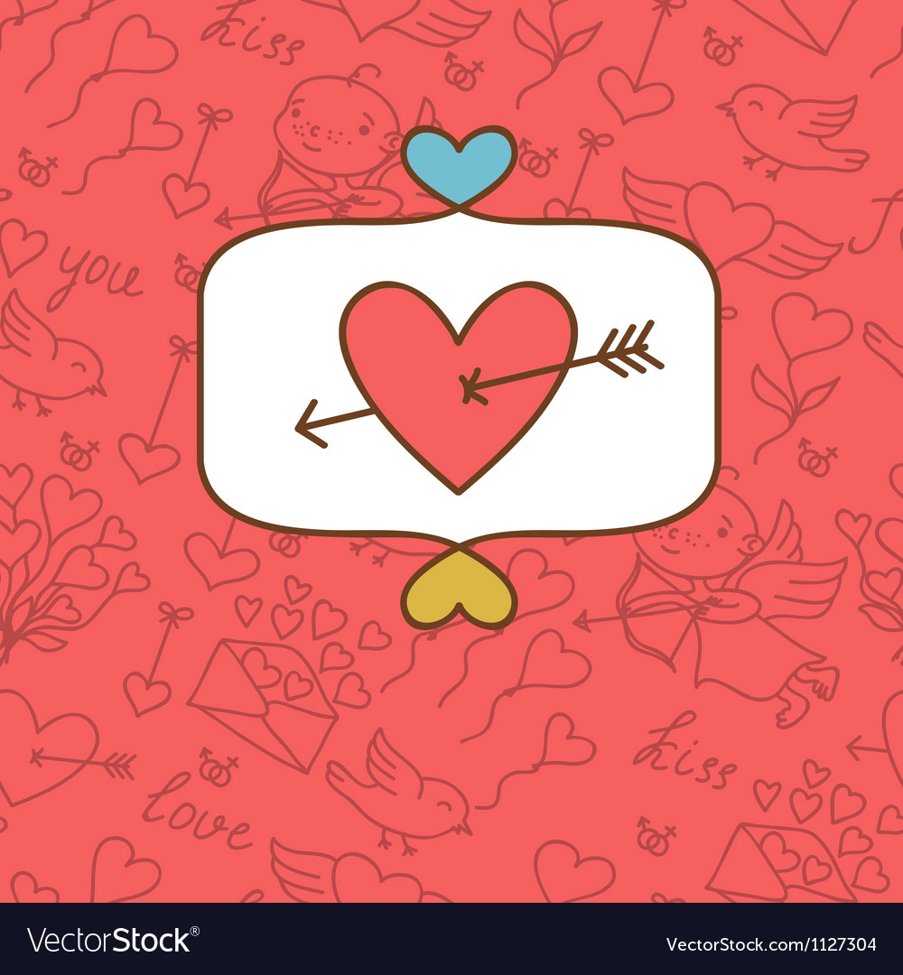 Valentines day love postcard with hand drawn vector