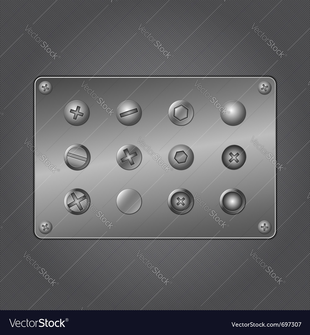 Metal screws vector