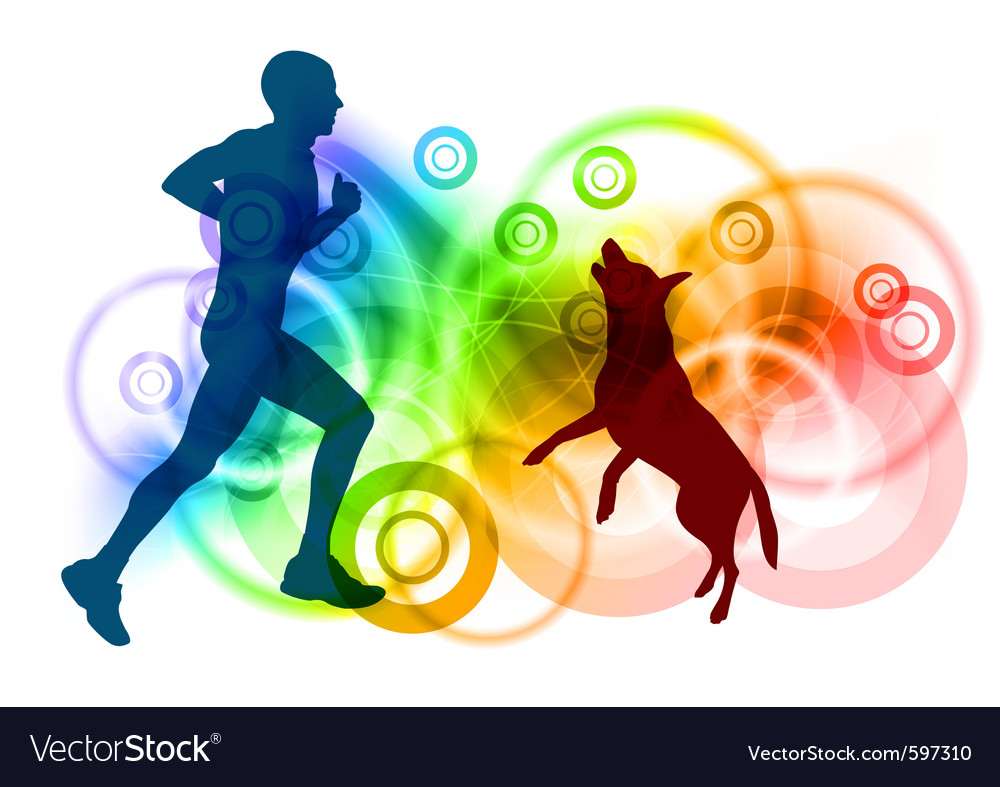 Silhouettes of man and dog vector