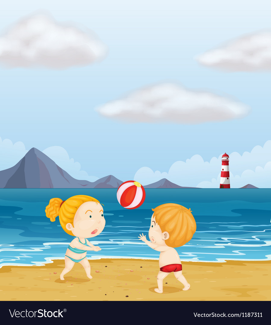 A girl and a boy playing volleyball at the beach vector