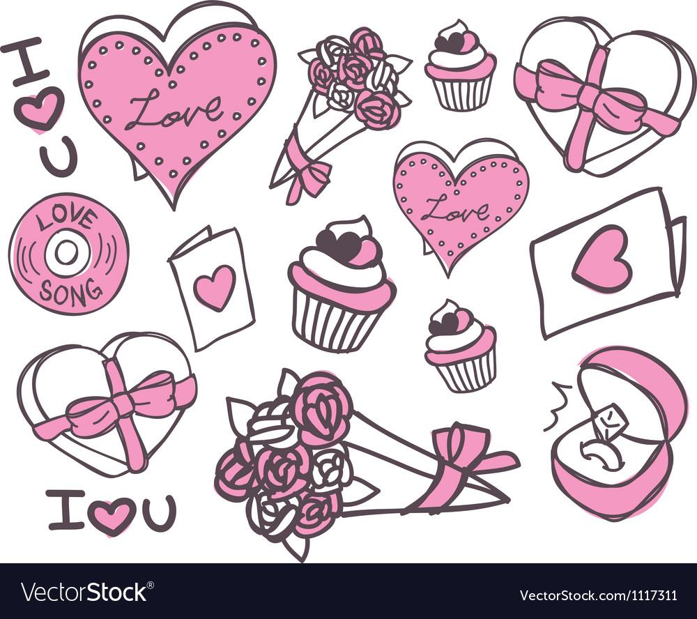 Valentine doodle vector