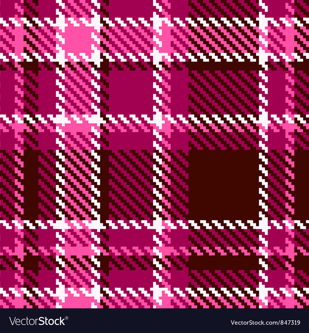 Seamless red and pink checkered fabric pattern vector