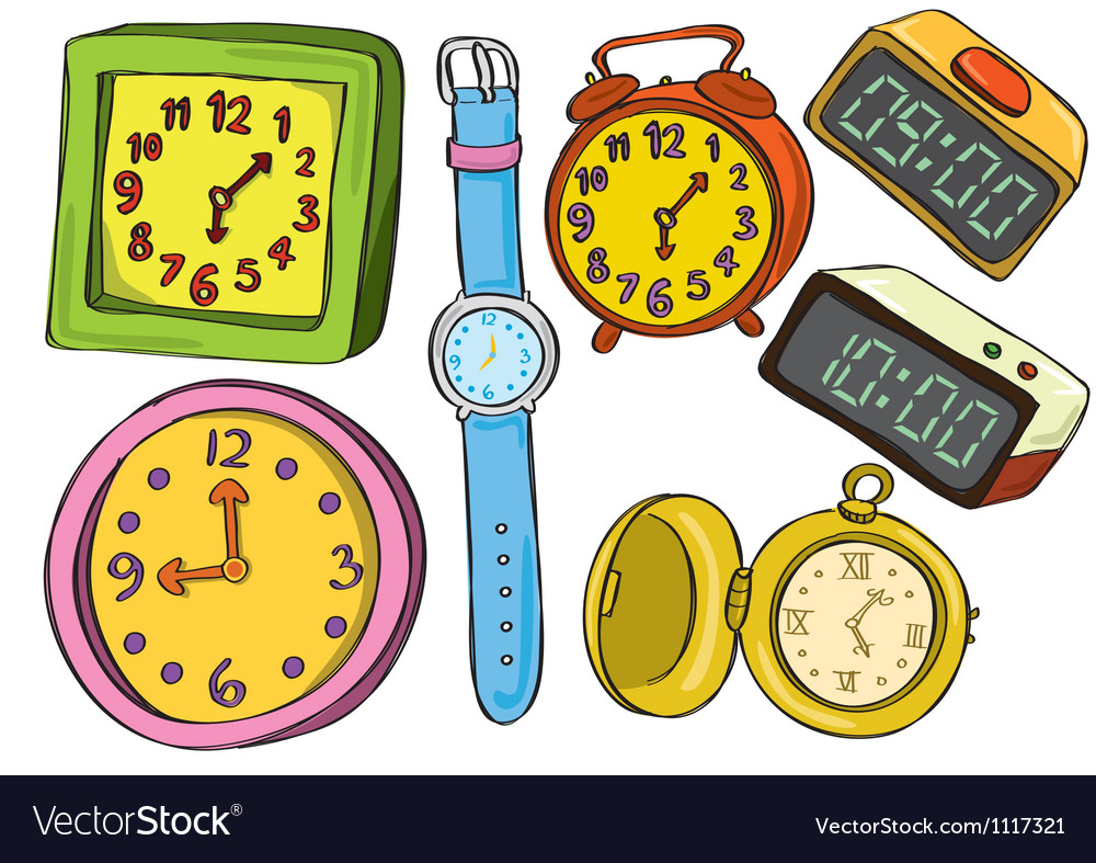 Set of various watch and clock doodle color vector
