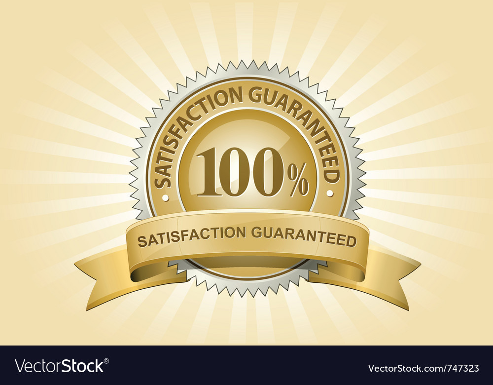 Yellow satisfaction guaranteed sign vector