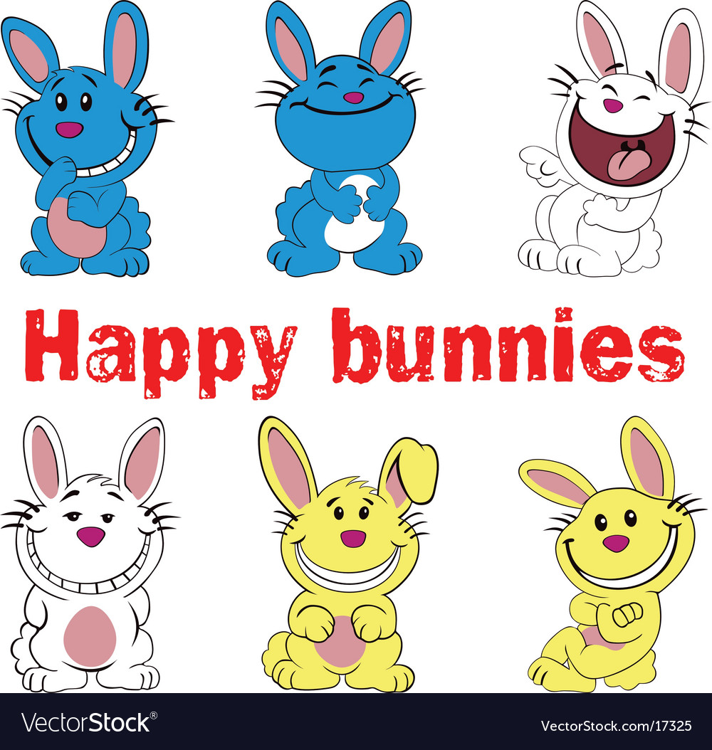 Happy bunnies vector