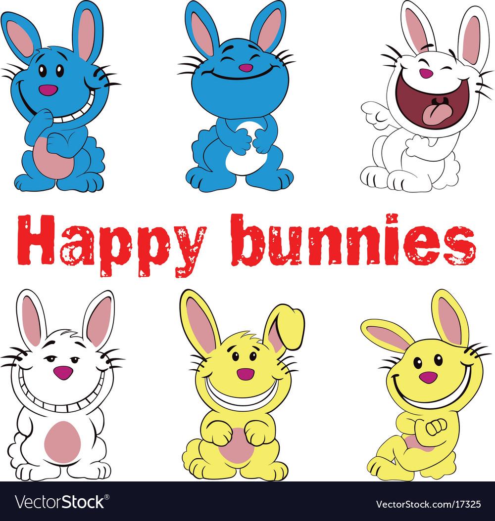 Happy bunnies vector