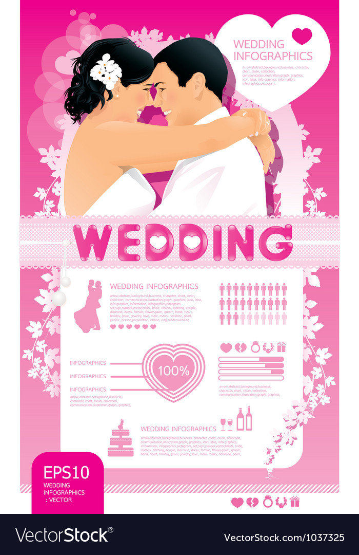 Wedding infographic set vector