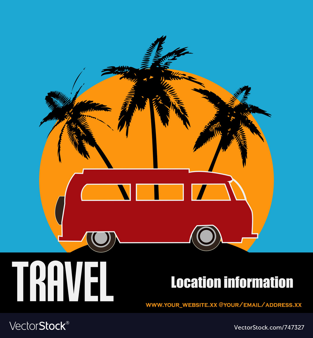 Tropical camper van vector