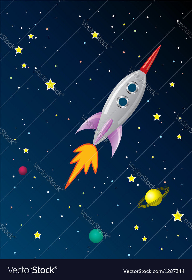 Rocket ship in space vector