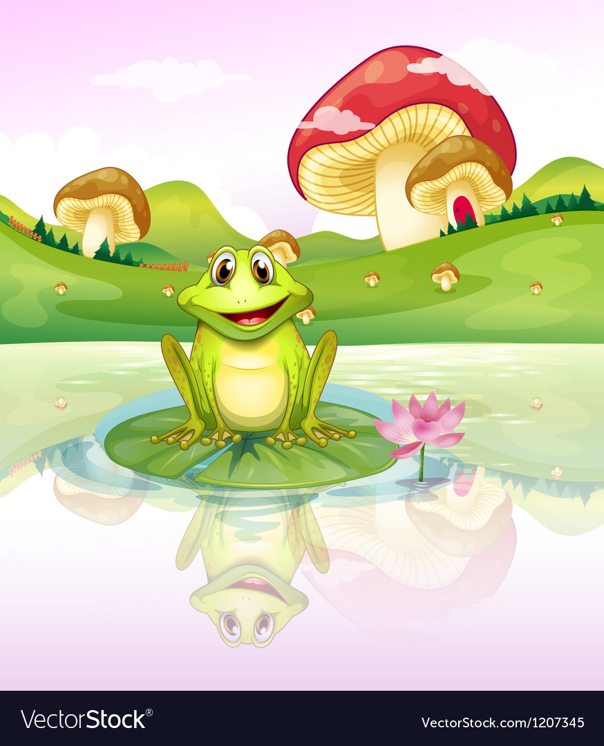 A frog watching his reflection from the water vector