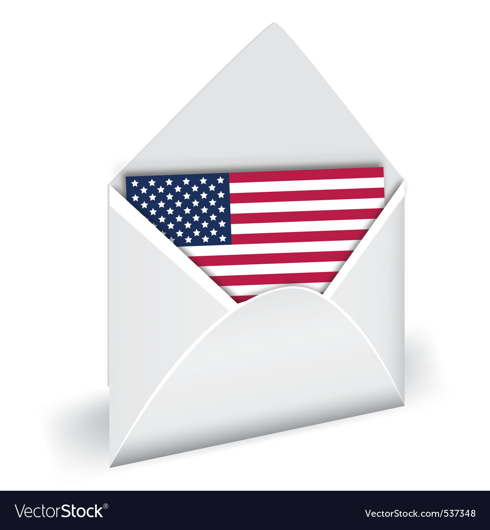 Usa flag in opened envelope holiday indepen vector
