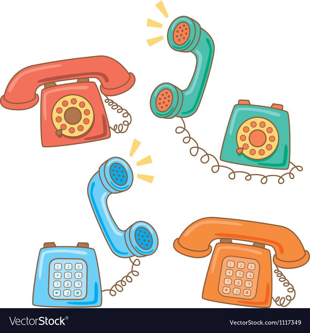 Retro telephone cartoon vector