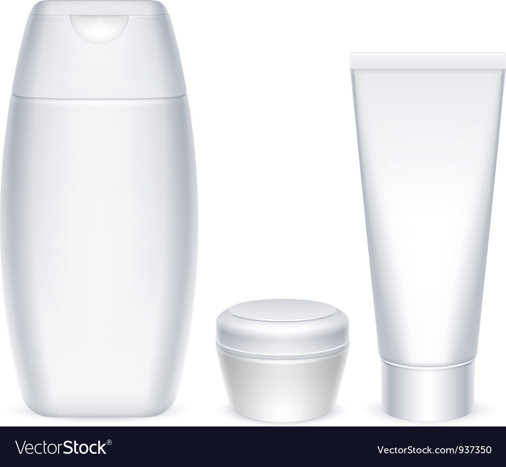Cosmetics containers vector