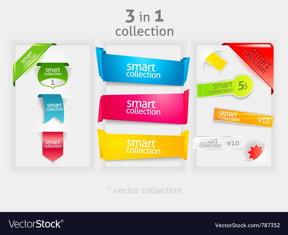Ribbon and banner collection vector